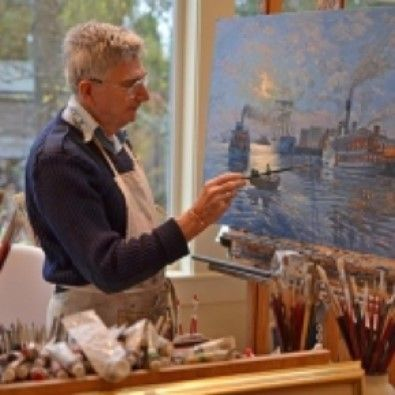 John M. Horton painting one of his pieces based on Capt. George Vancouver's voyages around the Pacific Northwest coast and wa