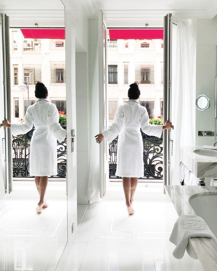 <p>Bathroom in Eiffel Suite, at Hotel Plaza Athenée.</p>