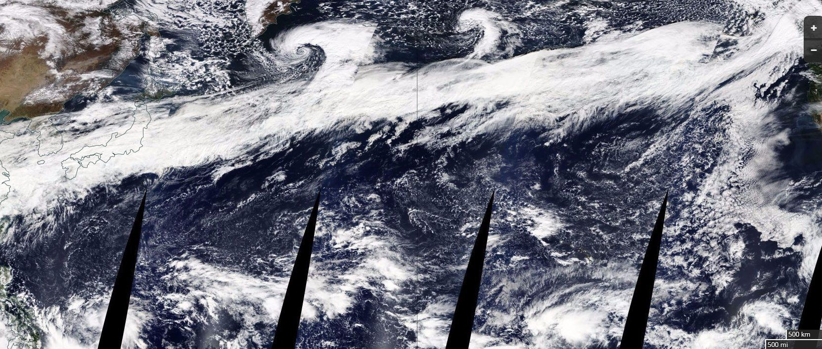The composite image above, released by NASA, shows a large atmospheric river stretching from China on the left to the coast o