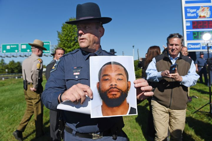 Harford County Sheriff Jeffrey Gahler shared a photograph of the suspect,Radee Prince, during a news conference on Wedn