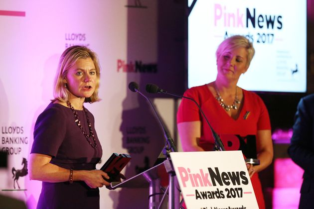 Education Secretary Justine Greening (left) and Hannah Bardell jointly receive the Pink News Politicians...