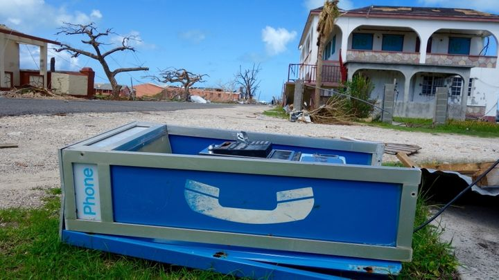 In the background, the office of the Barbuda Council in Codrington