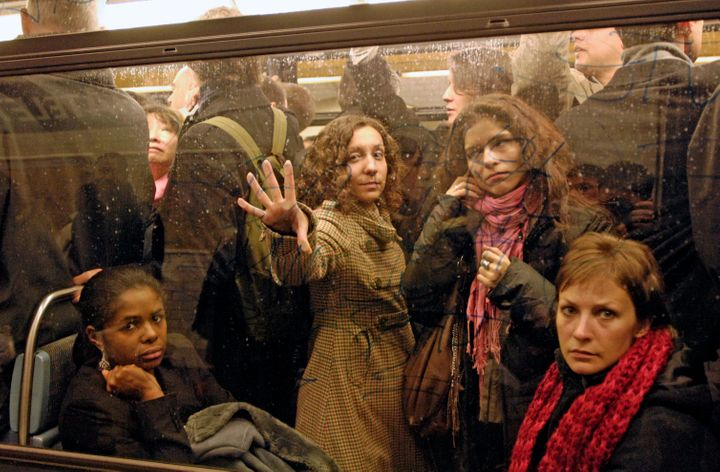 Commuters on the metro at Chatelet station in Paris