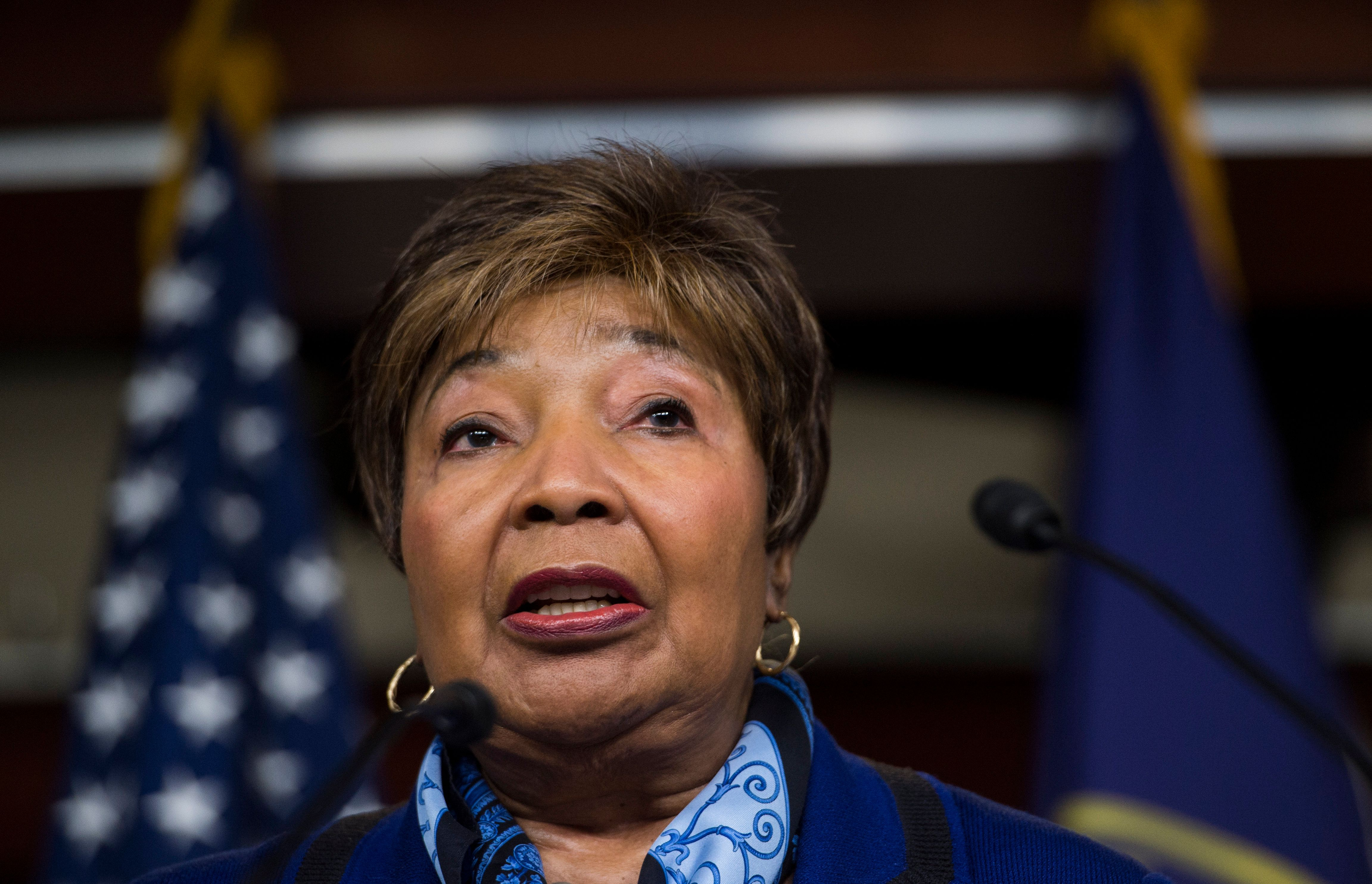 Rep. Eddie Bernice Johnson, D-Texas, participates in the House Democrats' news conference on the Republican budget on Wednesd