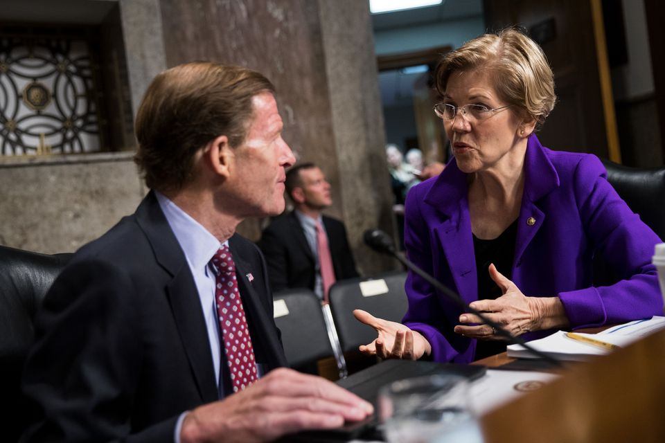 Sen. Richard Blumenthal (D-Conn.) talks with Sen. Elizabeth Warren (D-Mass.) before the start of a Senate Armed Services Comm