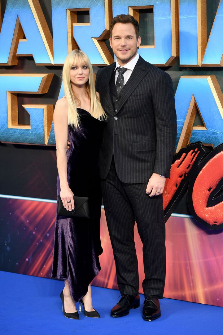 "Chris Pratt and Anna Faris pictured at the ""Guardians of the Galaxy Vol. 2"" premiere."