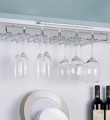 "Utilize the empty space between your cabinet and counter with <a href=""https://www.amazon.com/Organize-All-Chrome-Stemware-Ho"