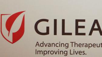 The logo of Gilead Sciences Inc is pictured during a news conference in New Delhi September 15, 2014. Picture taken September 15, 2014. REUTERS/Anindito Mukherjee