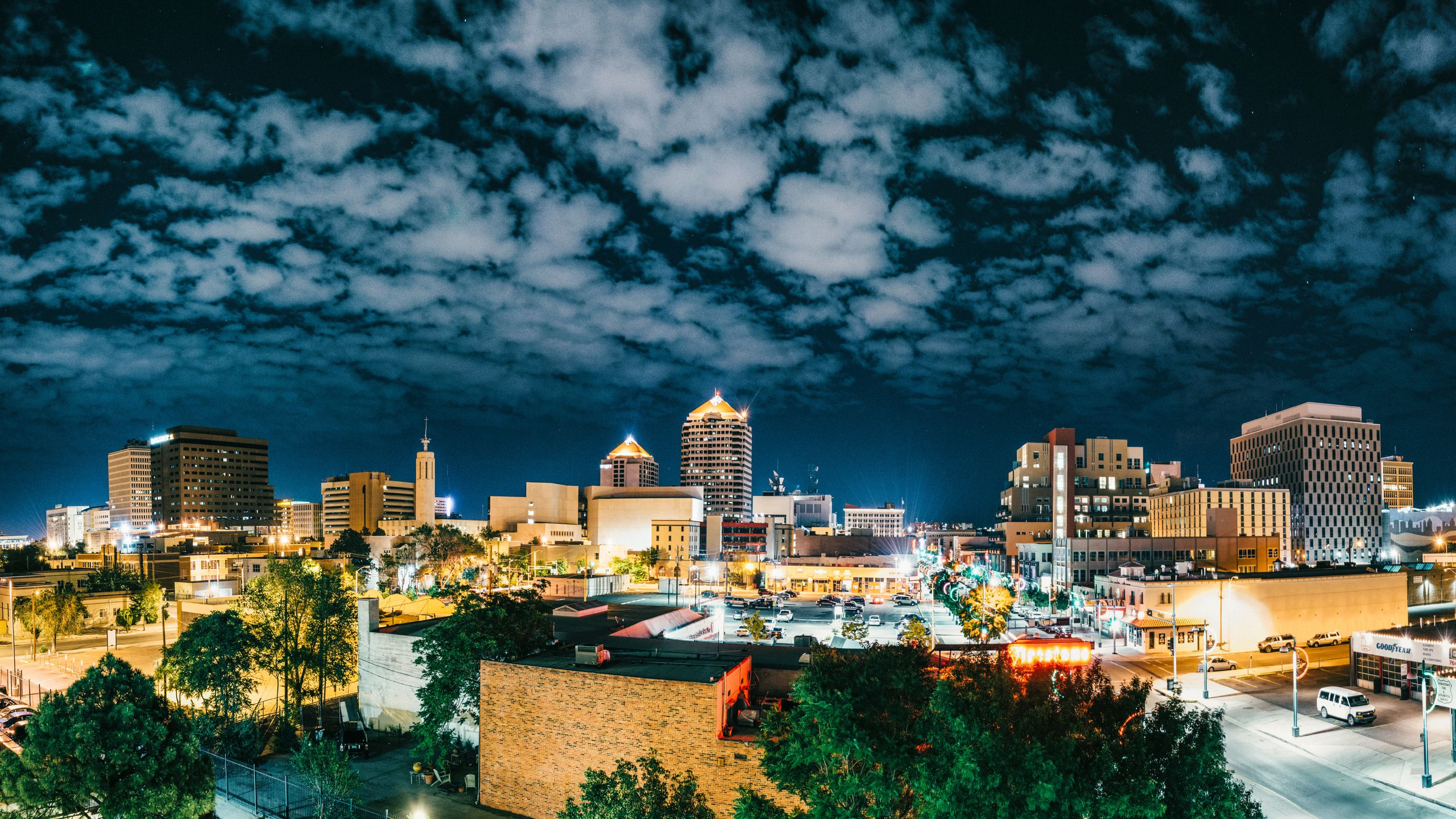 Downtown Albuquerque at night. The most recent federal monitor's report found APD to be 47 percent in operatio