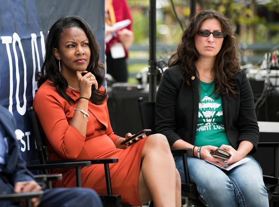 St Louis Treasurer Tishaura Jones and Alderwoman Megan Green ata kickoff event for HuffPost's bus tour last month.