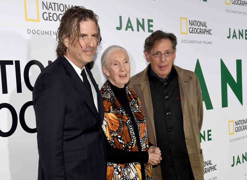 Director Brett Morgen, Jane Goodall, and Philip Glass at the Hollywood Bowl screening of <em>Jane</em> (left to right).