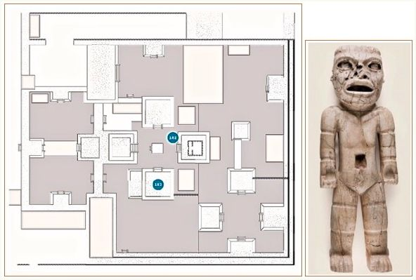 Detail of floor plan at Xalla, p. 415 – with item #183, Standing Figure (500-550).