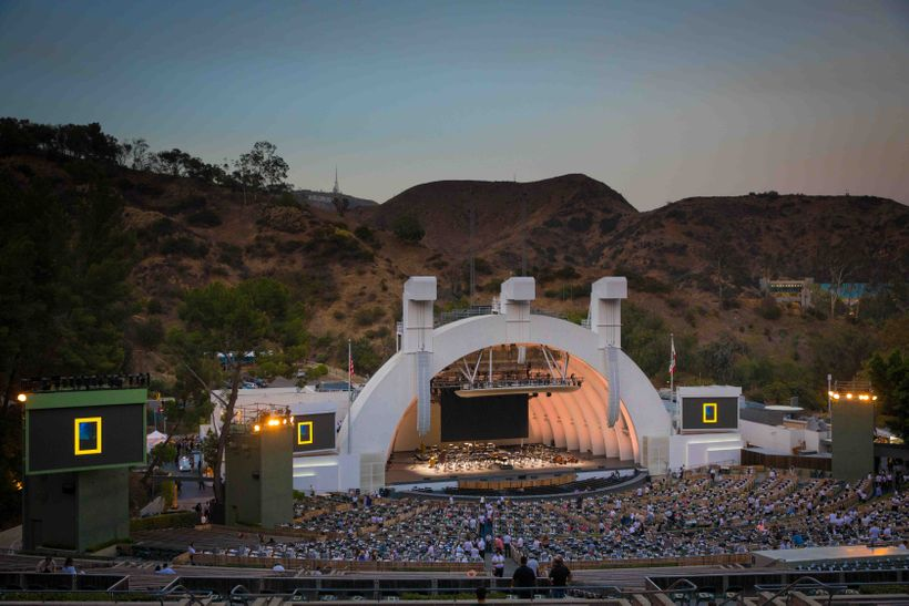 The Hollywood Bowl is known for its band shell, a distinctive set of concentric arches that graced the site from 1929 through