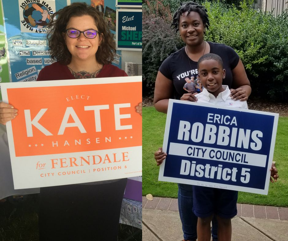 Kate Hansen, left, and Erica Robbins, right, are both mothers who decided to run for city council after the 2016 presidential