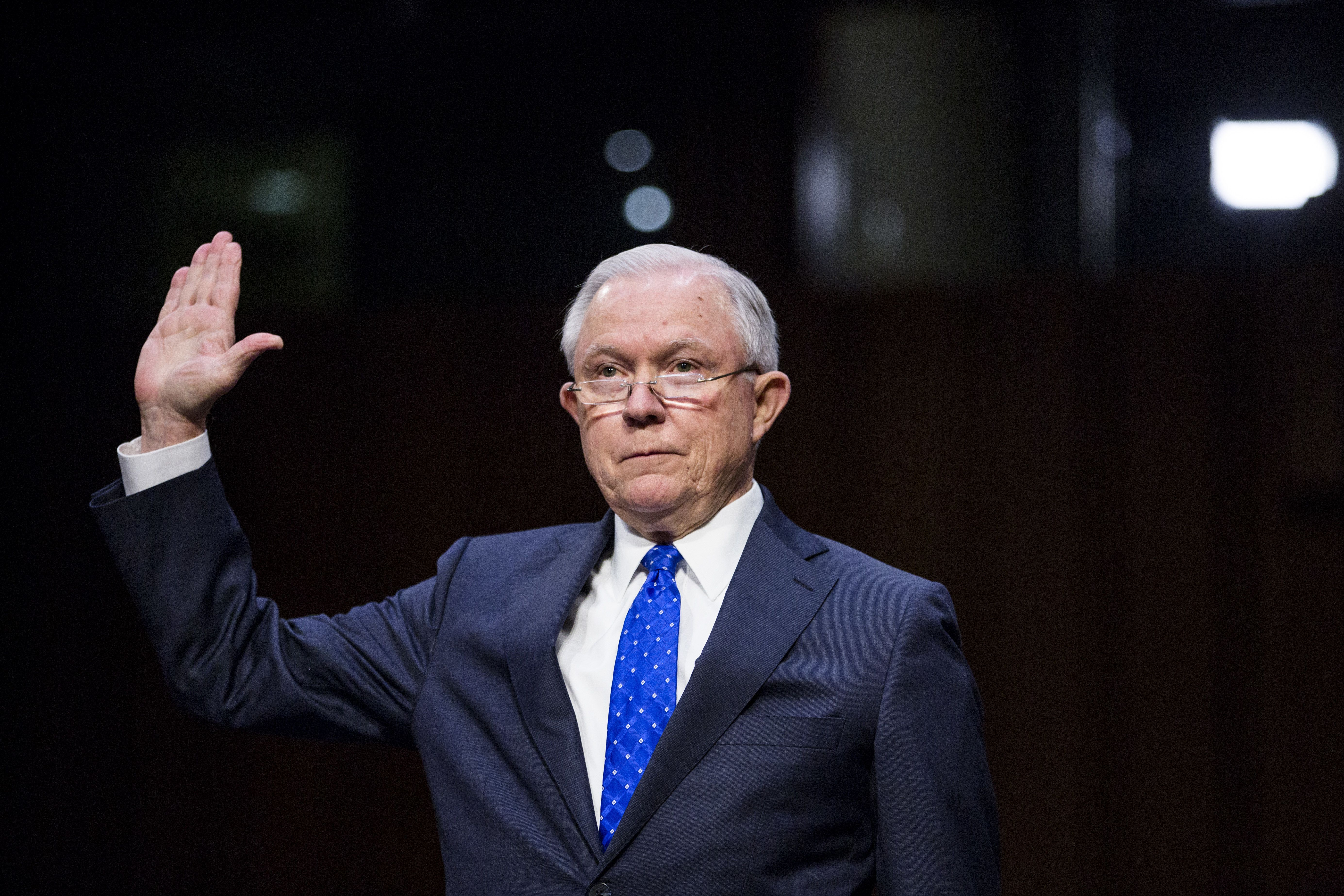 Jeff Sessions, U.S. attorney general, is sworn in to testify during a Senate Judiciary Committee hearing in Washington, D.C., U.S., on Wednesday, Oct. 18, 2017. Sessions told senators he won't answer questions about his conversations with President Donald Trump over the firing of FBI Director James Comey. Photographer: Zach Gibson/Bloomberg via Getty Images
