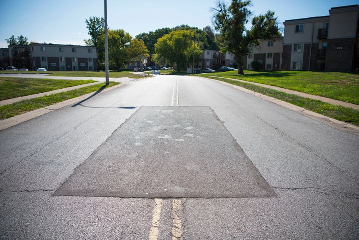 The street where 18-year-old Michael Brown, who was unarmed, was fatally shot by a white police officer in Ferguson, Missouri