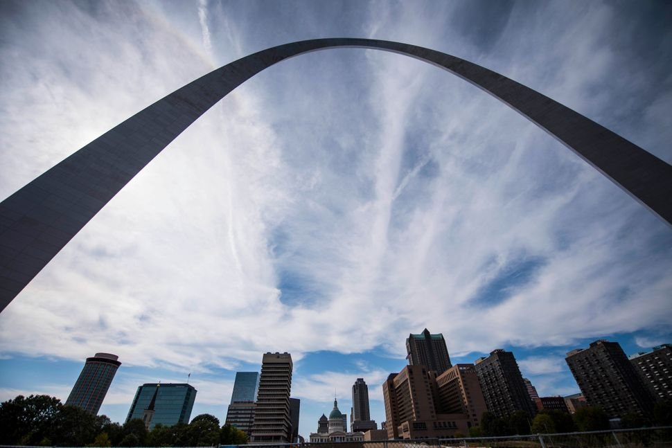 The Arch over downtown St Louis.