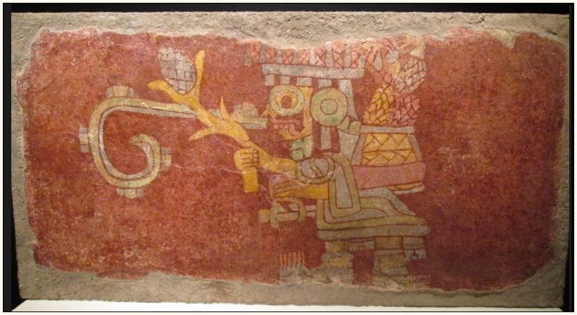 Mural fragment with Storm God impersonator.