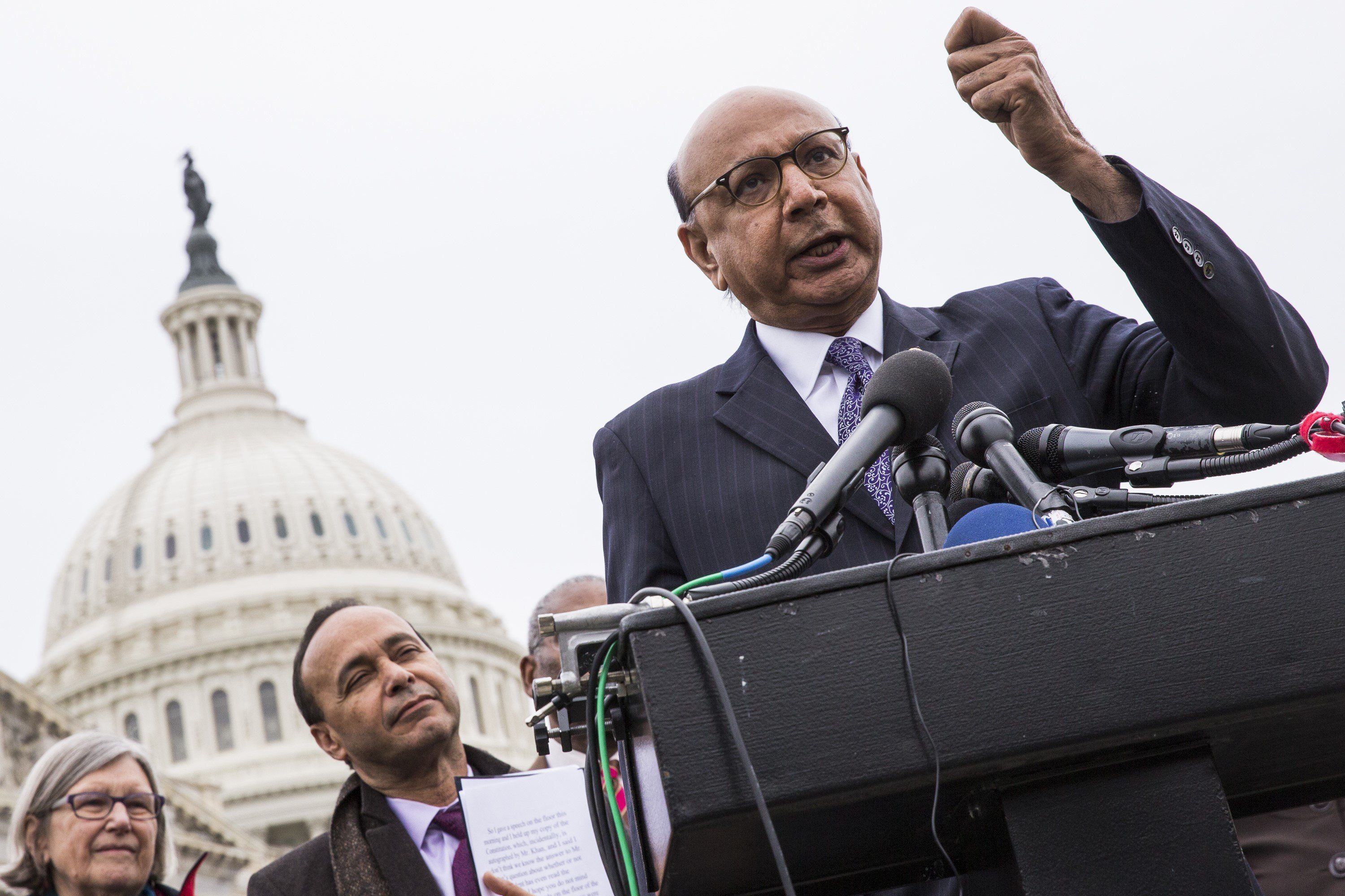 WASHINGTON, USA - FEBRUARY 1: Khazir Khan, a gold star father who lost his son in the war in Iraq, speaks out against President Trump and his Executive Order banning travel from seven majority muslim countries at the U.S. Capitol in Washington, USA on February 1, 2017. (Photo by Samuel Corum/Anadolu Agency/Getty Images)