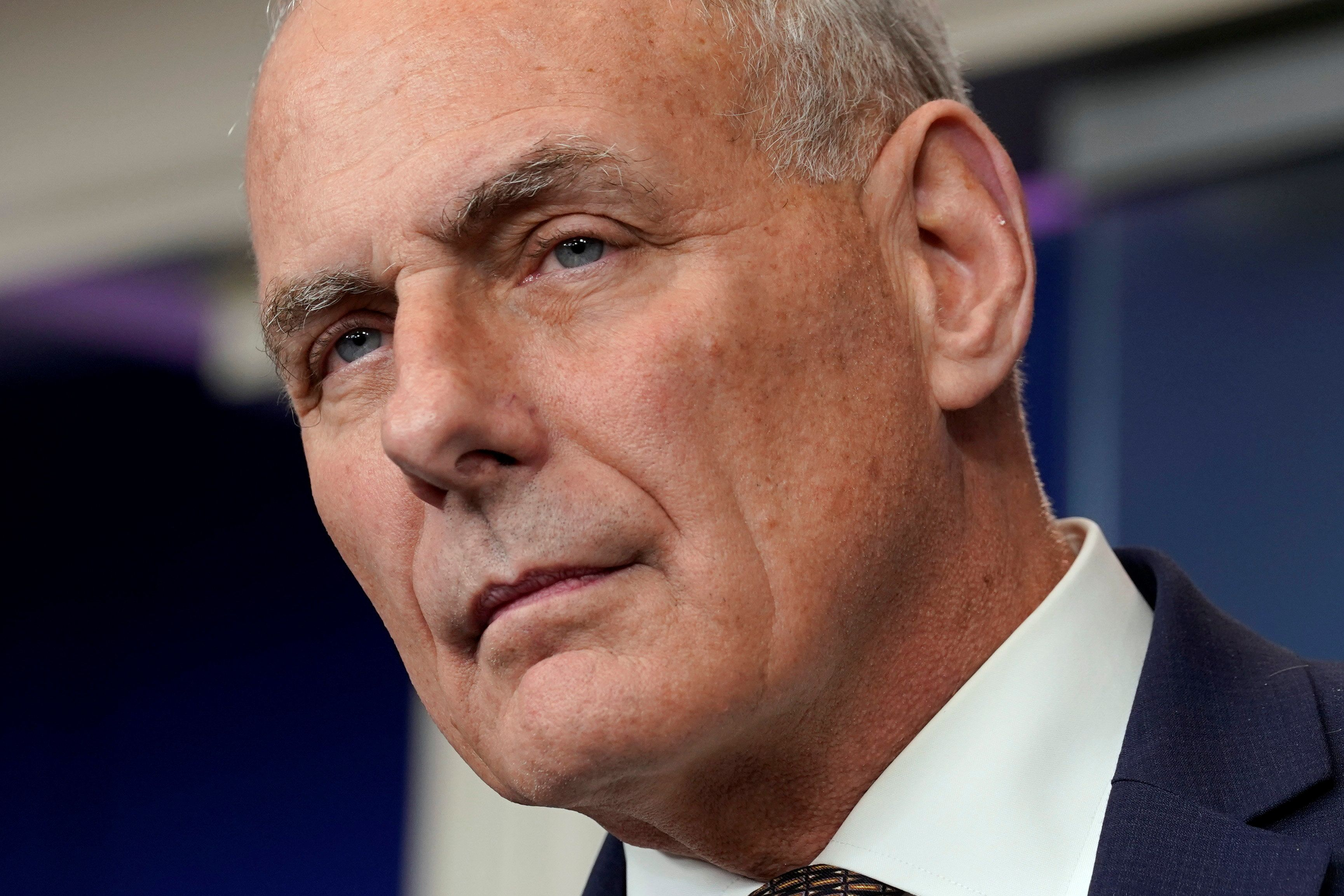 White House Chief of Staff John Kelly listens to questions during the daily briefing at the White House in Washington, U.S., October 12, 2017. REUTERS/Yuri Gripas
