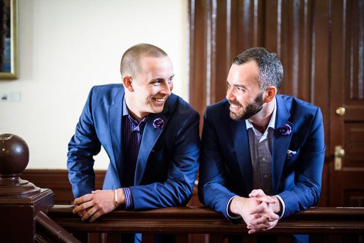 The dapper duo in blue.