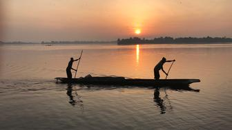 Canoe on Congo River