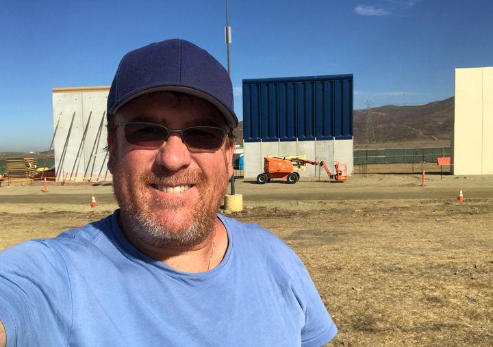 Be Less Stupid host, Jon Hotchkiss @ Border Wall prototypes construction (Otay Mesa, CA)