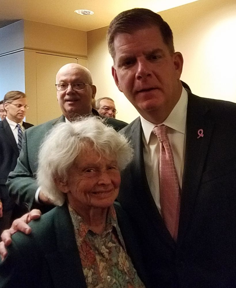 Boston Mayor Marty Walsh with Holocaust survivor Margot Segall-Blank