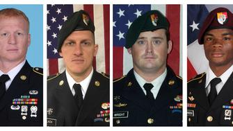 A combination photo of U.S. Army Special Forces Sergeant Jeremiah Johnson (L to R), U.S. Special Forces Sgt. Bryan Black, U.S. Special Forces Sgt. Dustin Wright and U.S. Special Forces Sgt. La David Johnson killed in Niger, West Africa on October 4, 2017, in these handout photos released October 18, 2017.  Courtesy U.S. Army Special Operations Command/Handout via REUTERS   ATTENTION EDITORS - THIS IMAGE WAS PROVIDED BY A THIRD PARTY
