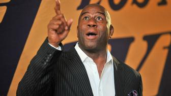 LOS ANGELES, CA - OCTOBER 19:  Magic Johnson attends a basketball game between the Los Angeles Lakers and the Los Angeles Clippers at Staples Center on October 19, 2017 in Los Angeles, California.  (Photo by Allen Berezovsky/Getty Images)