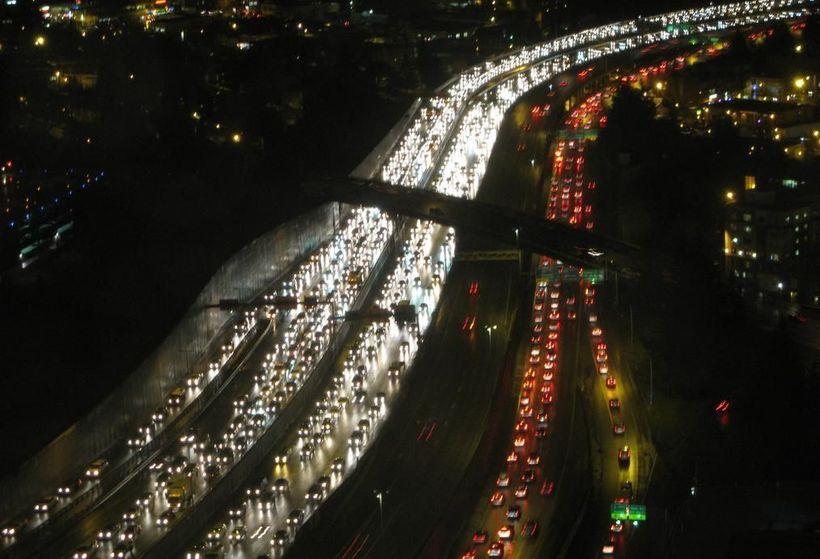 <em>Traffic along Interstate 5 in Seattle</em>