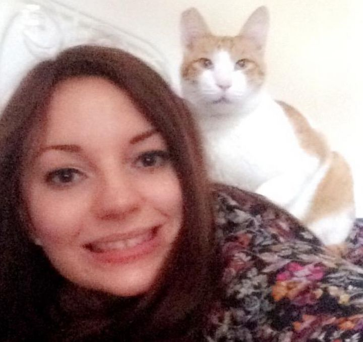Katie Alsop and her cat Peanut