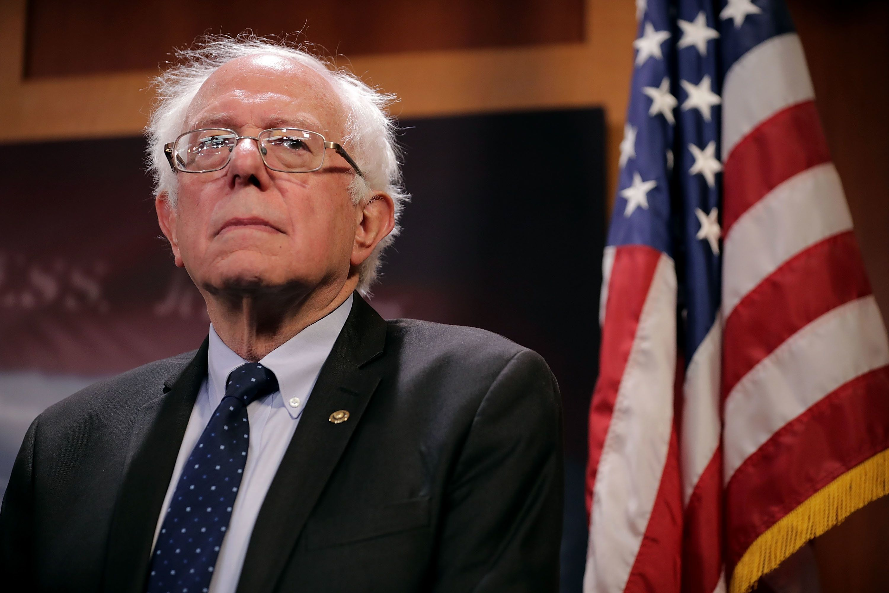 Sanders attends a news conference on Oct. 4, 2017 in Washington, DC.