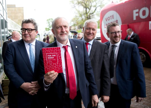 (l-r) Tom Watson, Jeremy Corbyn., Ian Lavery and Andrew Gwynne campaigning ahead of the June General