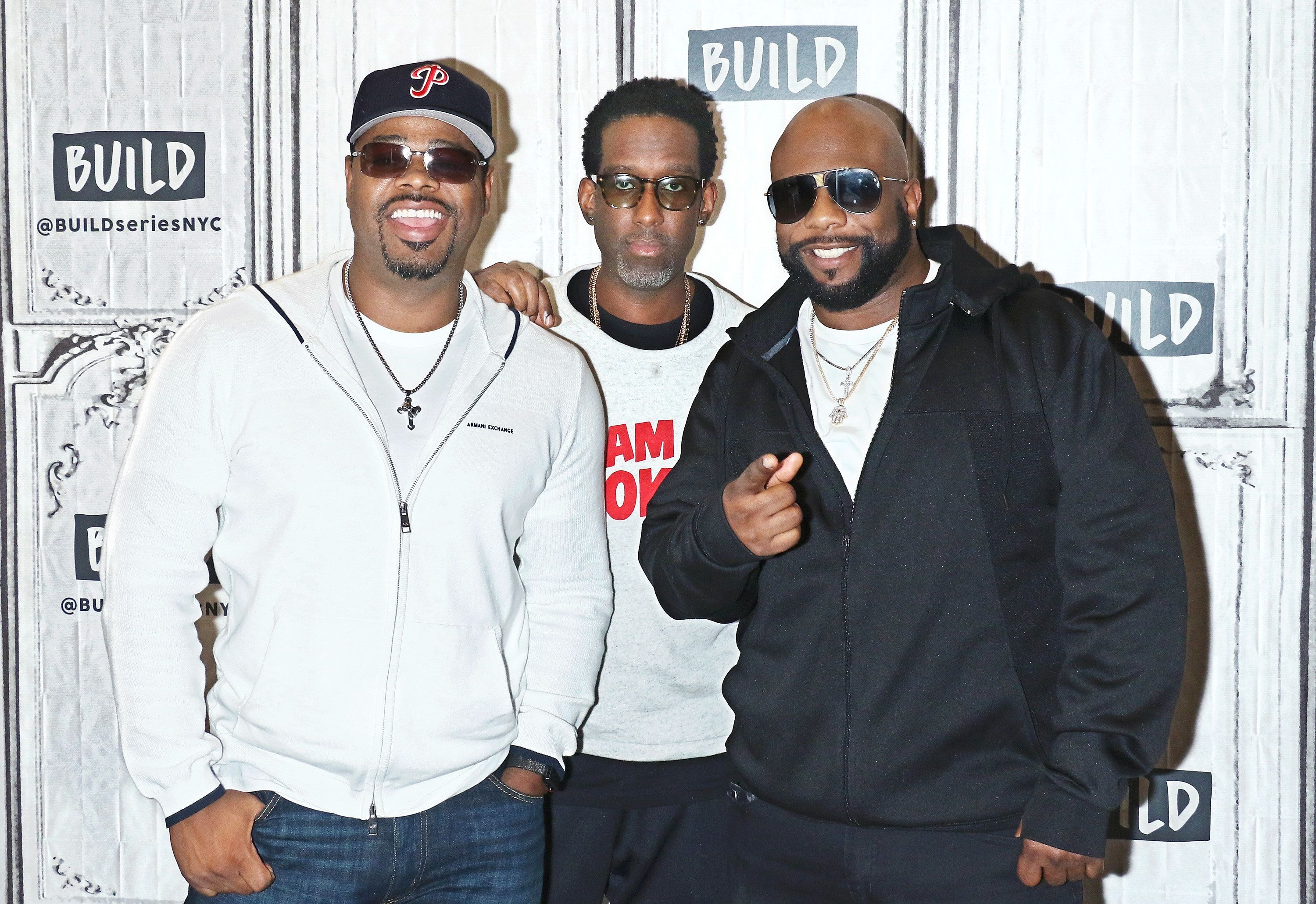 NEW YORK, NY - OCTOBER 19:  Singers Nathan Morris, Shawn Stockman and Wanya Morris of Boyz II Men attend Build to discuss their album 'Under the Streetlight' at Build Studio on October 19, 2017 in New York City.  (Photo by Jim Spellman/WireImage)