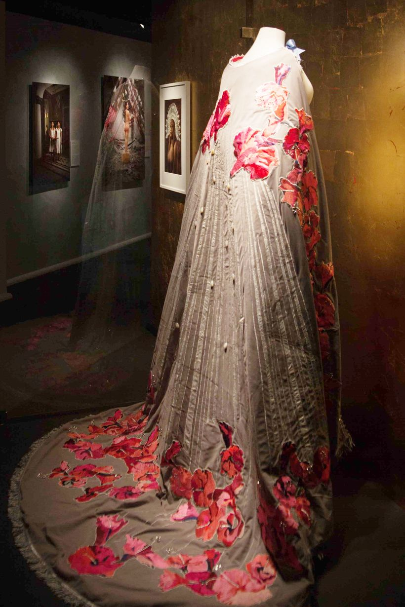 The <em>Virgin's Cape </em>that Maricielo wore, which the artists designed with hibiscus flowers that embody both the feminin