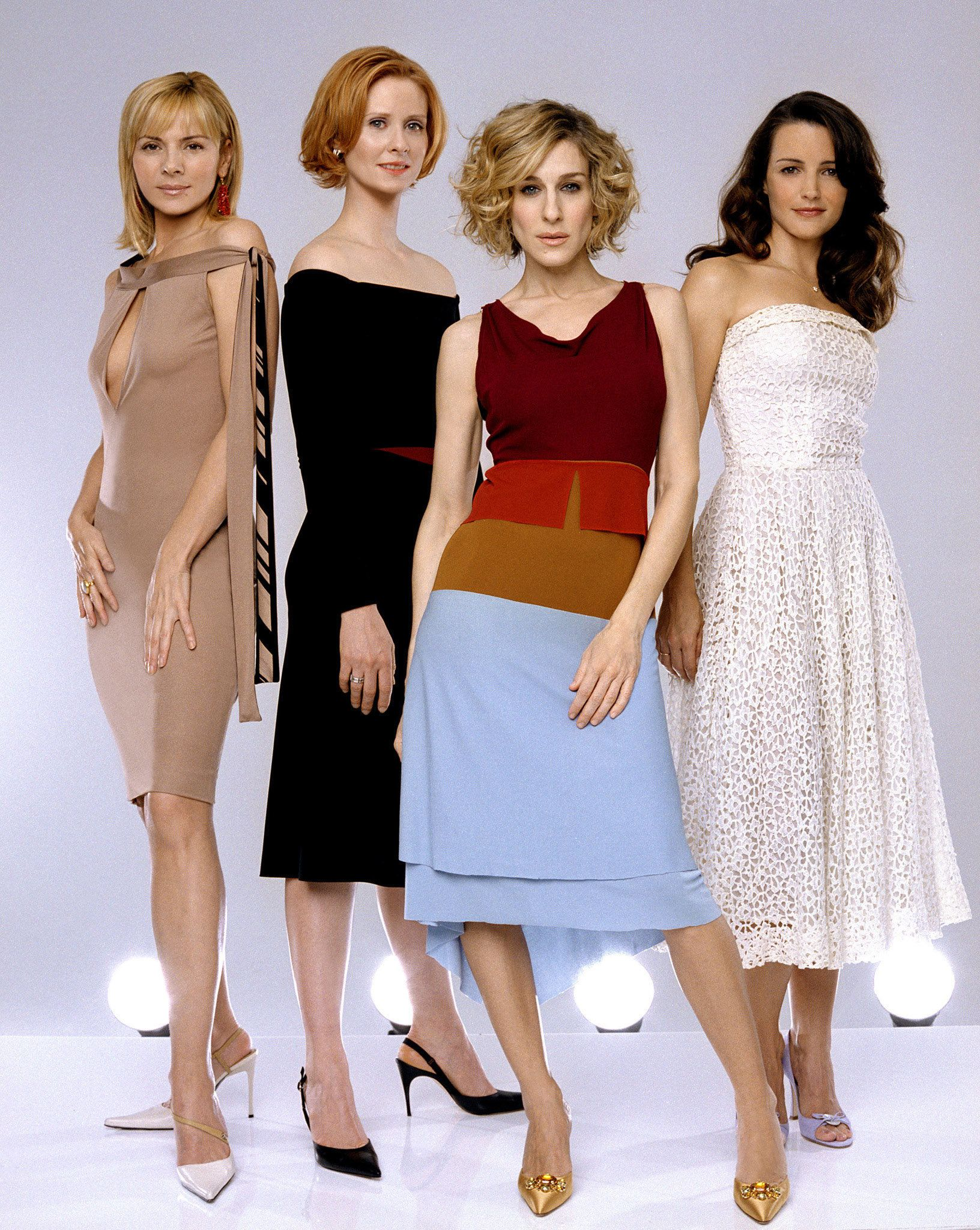 "The cast of the HBO televisions series ""Sex and the City"" (L-R)  Kim Cattrall, Cynthia Nixon, Sarah Jessica Parker and Kristin Davis pose in this undated publicity photograph. The series new season premieres July 21, 2002 in the United States. The real-life pregnancy of Sarah Jessica Parker, who stars as sex columnist Carrie Bradshaw, required an early production wrap last spring.  NO SALES"