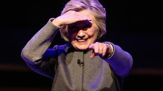 LONDON, ENGLAND - OCTOBER 15: Former US Secretary of State Hilary Clinton appears on stage following her talk at the Southbank Centre's London Literature Festival at The Royal Festival Hall on October 15, 2017 in London, England. Mrs Clinton has been speaking about her recently published memoir 'What Happened' which reflects on her defeat by Donald Trump in the 2016 US presidential election. (Photo by Jack Taylor/Getty Images)