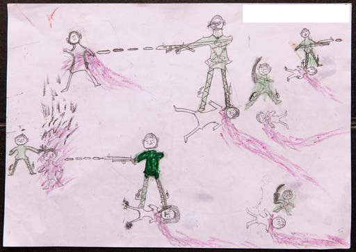A drawing by a Rohingya boy illustrates the horrific experiences he endured while fleeing from Myanmar...