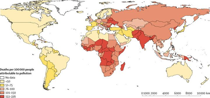 This map of pollution-linked deaths in 2015 per 100,000 people shows its impact on poorer, more vulnerable parts of the world