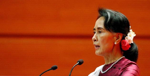 Myanmar State Counselor Aung San Suu Kyi delivers a speech in Naypyitaw, Myanmar. on Sept.