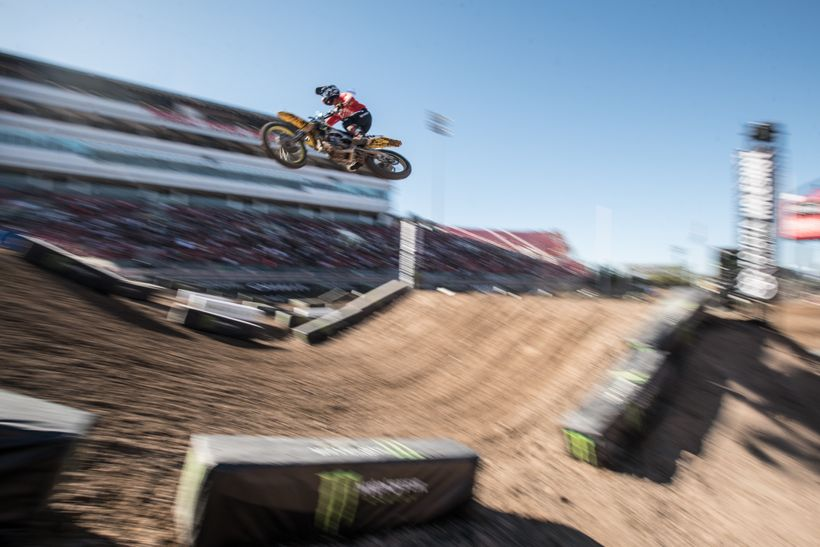 <strong>Boggling. </strong>Justin Bogle debuted his new JGRMX ride in Vegas. While his speed was very good, a mishap with ano