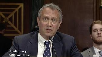 US district court nominee Thomas Farr testifies during his Senate Judiciary Committee hearing