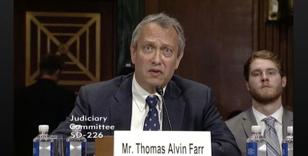 Thomas Farr, nominated for a federal judgeship, denies that he knew about a 1990 voter intimidation scheme before it was