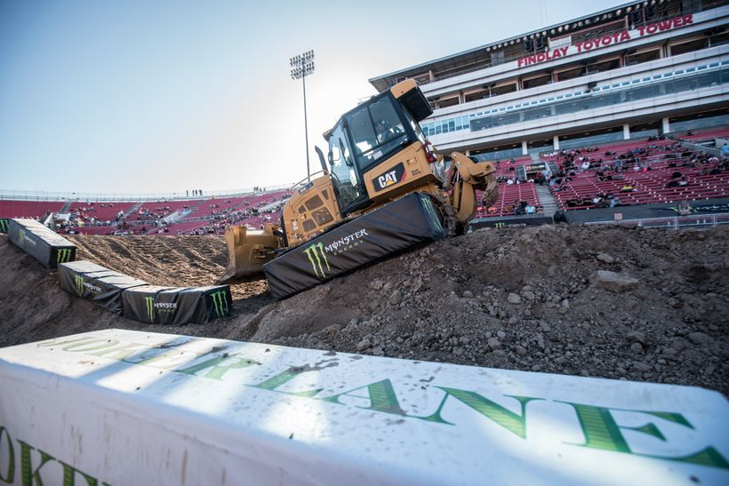 <strong>No Joke</strong>. Prepping the average Supercross track is no small feat. Typically taking about 500 truck loads of d