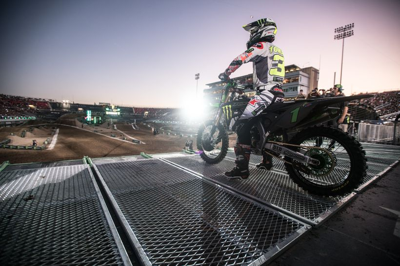 <strong>Spotlight.</strong> All eyes were on Eli Tomac, the freshly crowned AMA 450 Motocross Champion. One of several riders