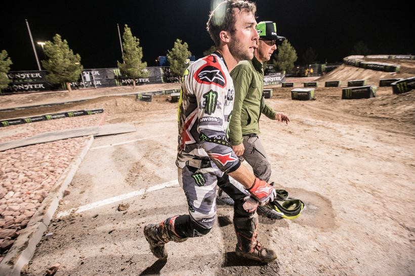 Following Tomac's high-speed crash, he was able to run off the track immediately to avoid further harm. Here, Eli walks back
