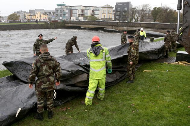 People across the UK and Ireland have been preparing for Storm Brian to hit. In Galway City (pictured)...
