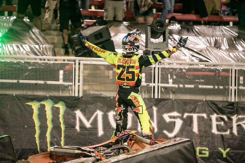 <strong>Gloat.</strong> Wouldn't you if you just won a million smackers? Musquin threw inhibition to the wind following the b