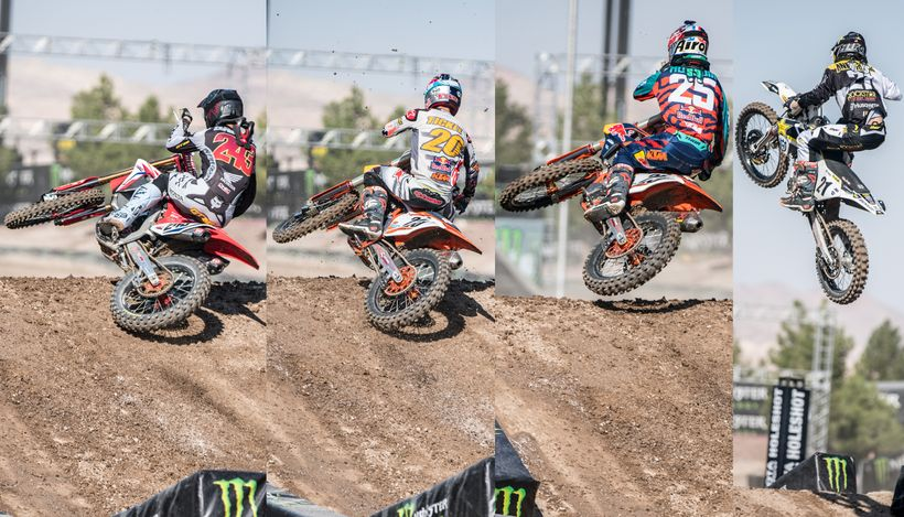 From left to right are Tim Gajser, Broc Tickle, Marvin Musquin and Jason Anderson. The first three riders chose to triple-dou